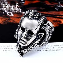 0f37b747e86ff BEIER 2018 new 316L Stainless Steel Men's The snake monste Ring For Man  Cool Fashion Skull Punk Movie Jewelry BR8-493