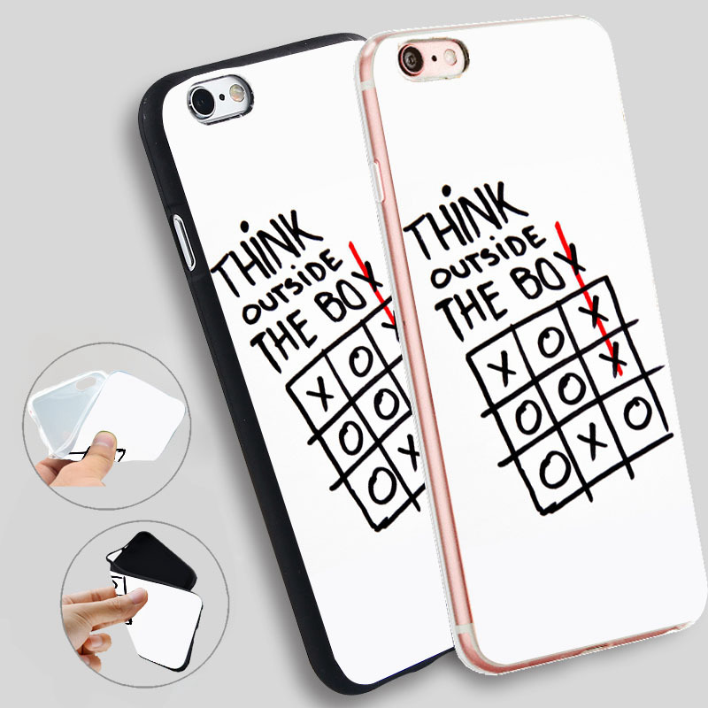 best service f1ccd b1eb3 US $4.59 |Minason Think Outside Box Cases For iPhone 8 7 7Plus 5 5S SE  Cases Silicone Soft Case For iPhone 6 s 6s 7 8 Plus X Cover-in Fitted Cases  ...