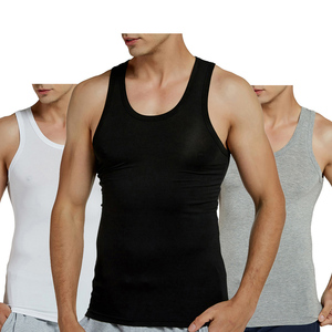 Image 1 - 2 Cái/lốc Xe Tăng Chui Modal Căng Đầy Rắn Vest Nam Thoáng Khí Áo Không Tay Mỏng Cổ Áo Lót Không Gọng Đen (2 Gói)