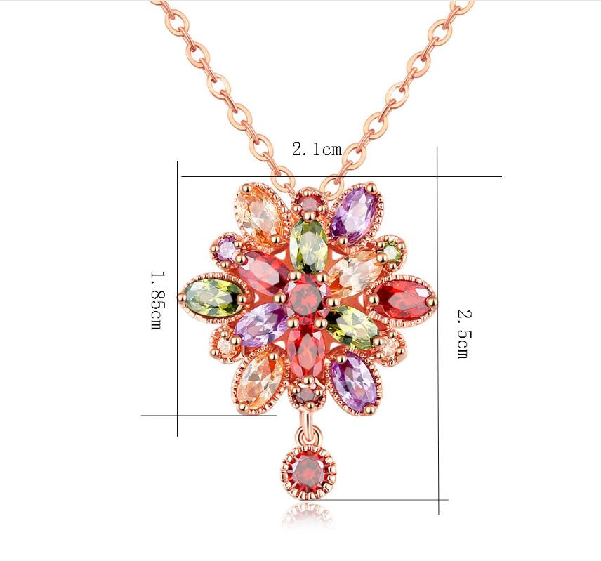 Luckyshine Dazzling Flower Fire Rainbow Crystal Cubic Zirconia Rose Gold Pendant Necklaces Russia Canada Pendants Necklaces