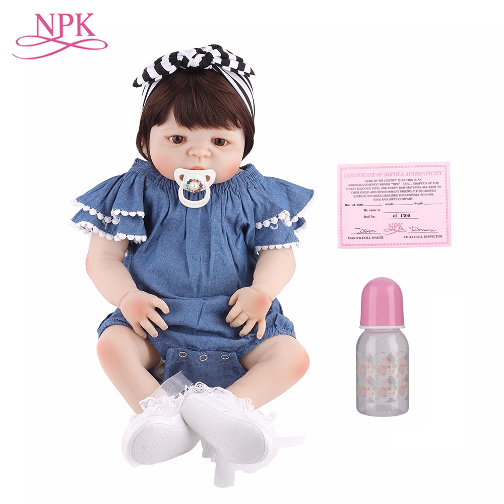NPK 55cm Full Silicone Body Reborn Baby Doll Toy Like Real 22inch Newborn Girl Princess Babies Doll Bathe Toy Kid Christmas Gift 22inch silicone reborn doll babies soft vinyl life like realistic newborn dolls fake baby that look real kids toy christmas gift