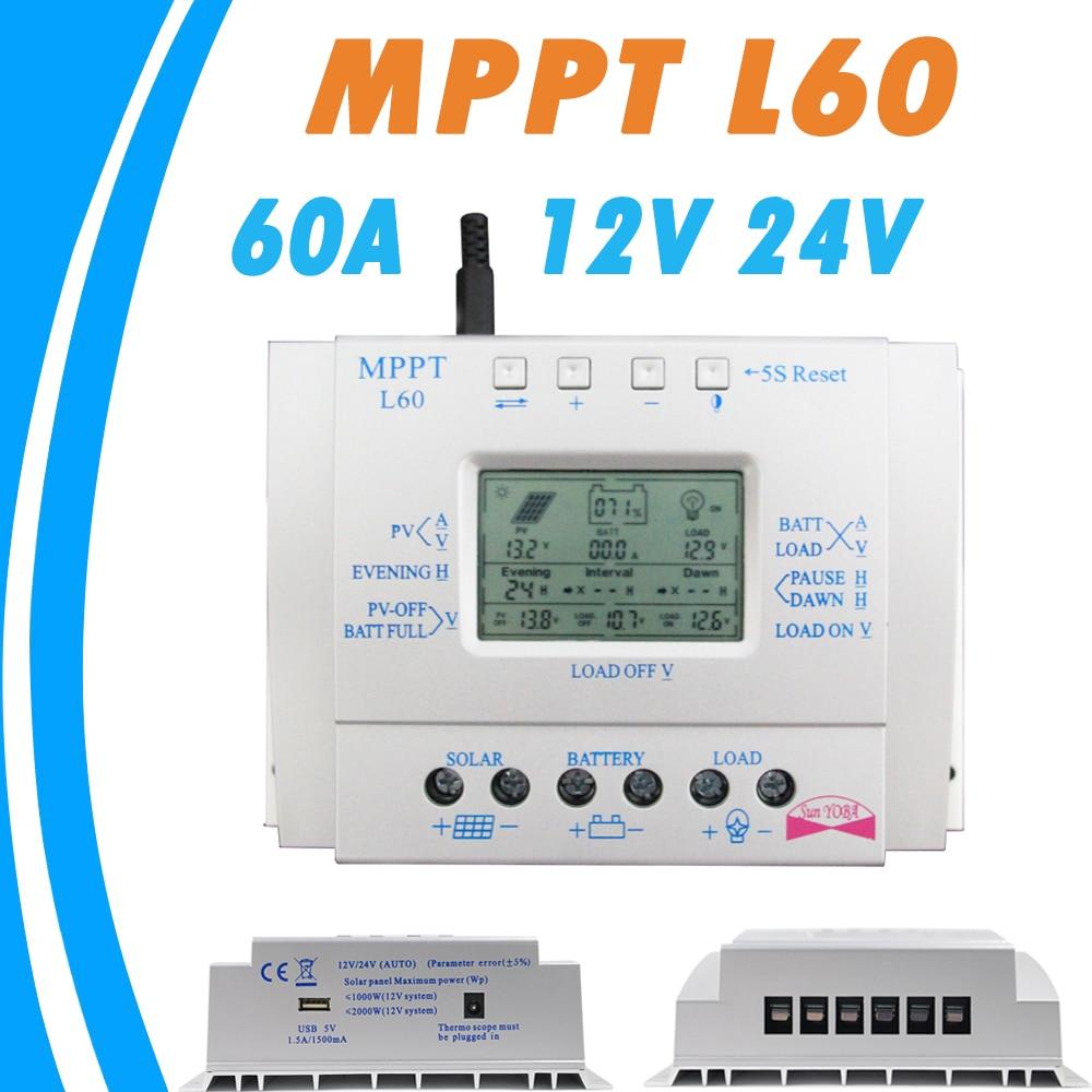 Controlador de carga de batería Solar 60A LCD 12 V 24 V automático con regulador Solar USB 5 V 1500mA sistema de seguimiento Solar de alta eficiencia