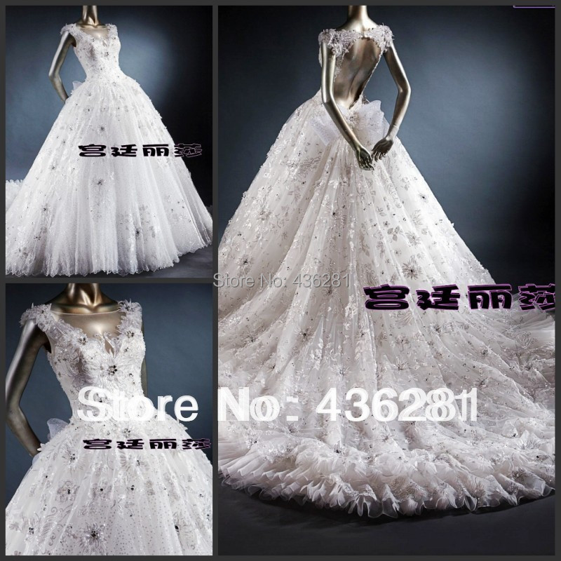 2014 a line floor length cathedral royal train bow v neck for Wedding dresses with royal length train