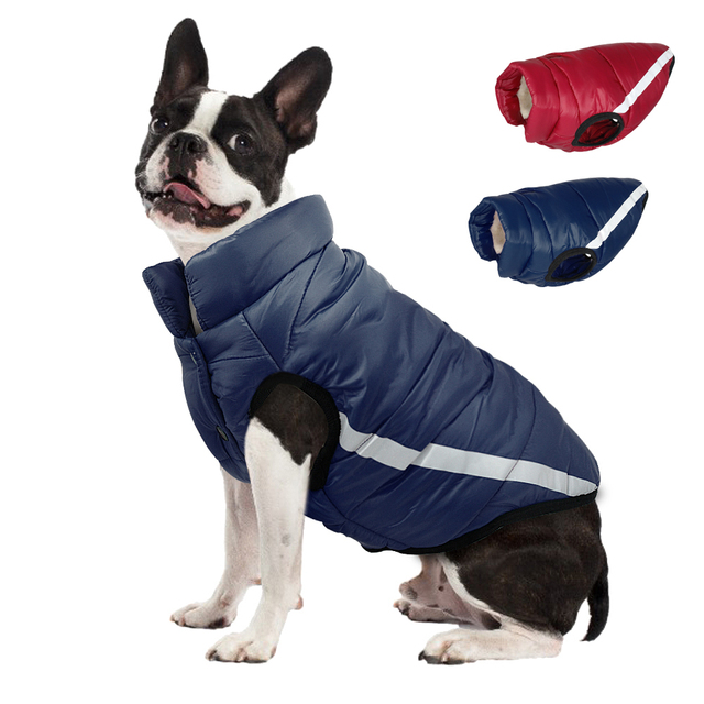 53ec6a5077f3 Winter Dog Clothes Reflective Pug Pet Coat Cotton Dogs Jacket Clothing For  Small Medium Dogs Puppy Yorkshire Pitbull Red Blue-in Dog Coats & Jackets  from ...