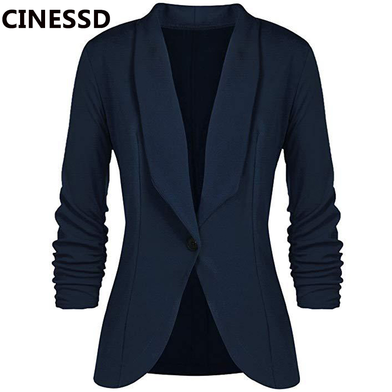 CINESSD Office Lady Blazers Coat Solid Long Sleeves Cardigan Button Casual Suit Navy Blue Draped Slim Cotton Women Blazer Jacket