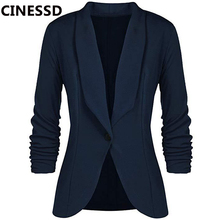 CINESSD Office Lady Blazers Coat Solid Long Sleeves Cardigan Button Casual Suit