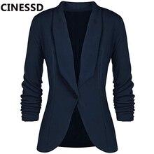 CINESSD ofis bayan Blazers ceket katı uzun kollu hırka düğmesi günlük giysi lacivert dökümlü ince pamuk kadın Blazer ceket