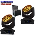 2 единицы Полетный кейс освещение для мытья 36x15 Вт Led движущаяся головка Zoom сценический свет RGBWA DMX512 DJ Вечеринка шоу лампа