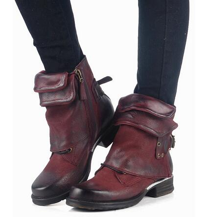 Women New Fashion Ankle Boots Retro Flats Turned-Over Edge Round Toe Wholesale Women Shoes Punk