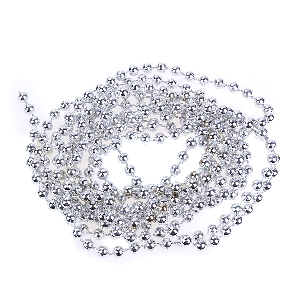 Pearl Garland For Christmas Tree: 2.7m Silver Bead Chain Garland Christmas Tree Decorations