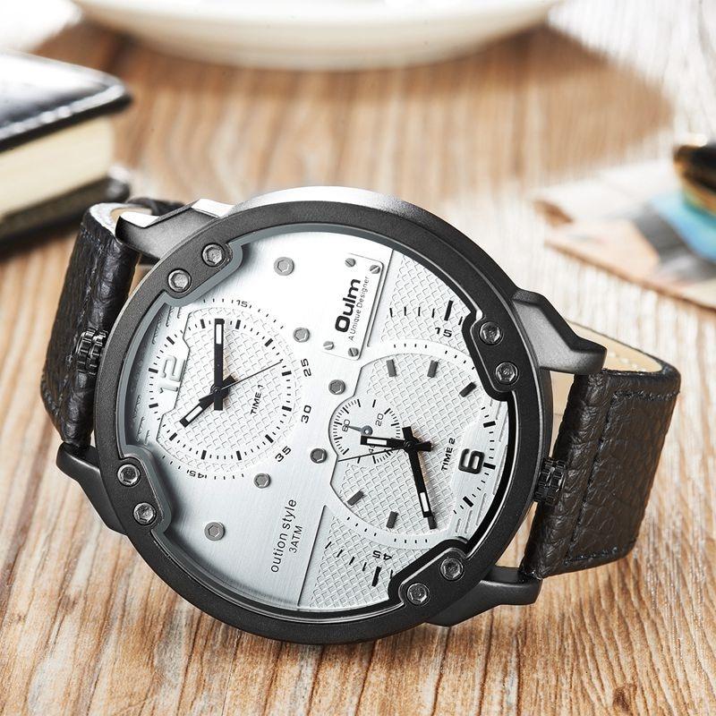 Oulm Einstellbare Zwei Zeitzonen Herrenuhr Luxusmarke Große größe Casual Leder Armbanduhren Mann Sportuhr erkek kol saati
