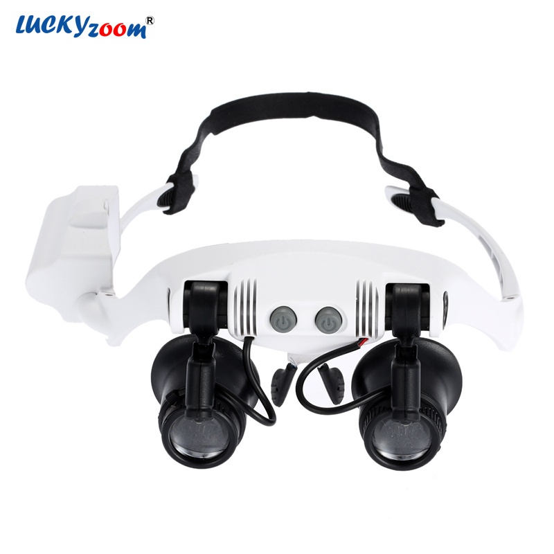 Luckyzoom Stirnband Glas Lupe Auge LED Beleuchtet Lupe Uhr Reparatur Lupe Mit Led-leuchten Schmuck Lupe