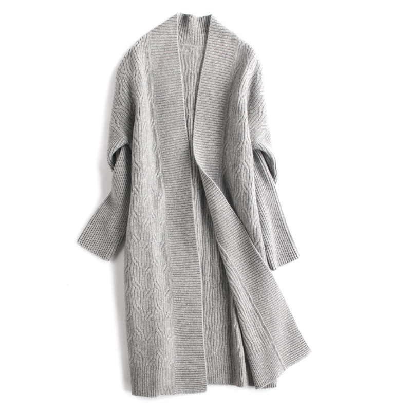 xl Chèvre Drop Chandail Manches Large Cachemire 100 Femmes Grey Tricot Mode Manteau M Long Light épaule Rretail Lâche Cardigan Gros De Camel adSw7