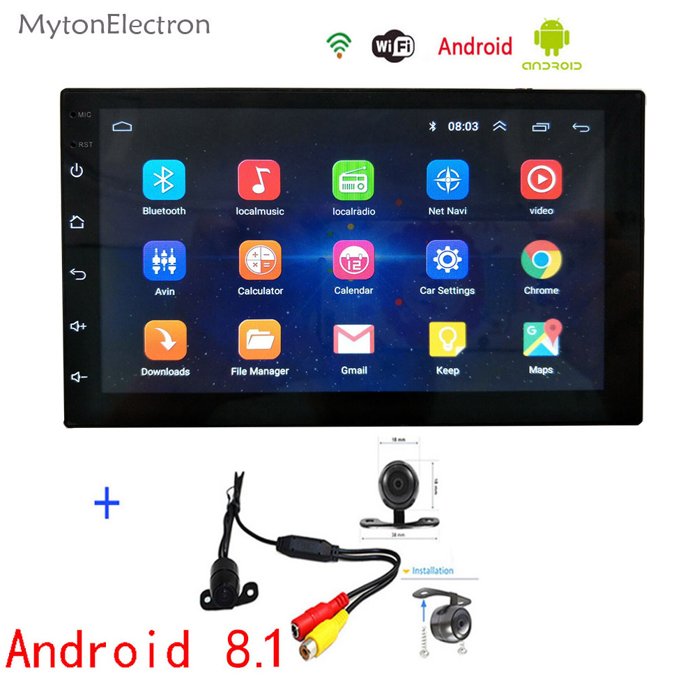 2 Din Android Radio Bluetooth GPS Navigation WIFI Stereo USB Audio PC Table Car Multimedia Player Rearview Backup Parking Camera
