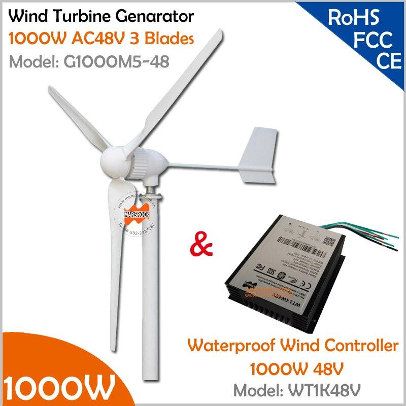 2.5 m s velocità del vento start-up trifase 3 lame 1000 W 48 V generatore di  turbina eolica con 1000 W 48 V Waterproor Regolatore del Vento eea823b20e9f