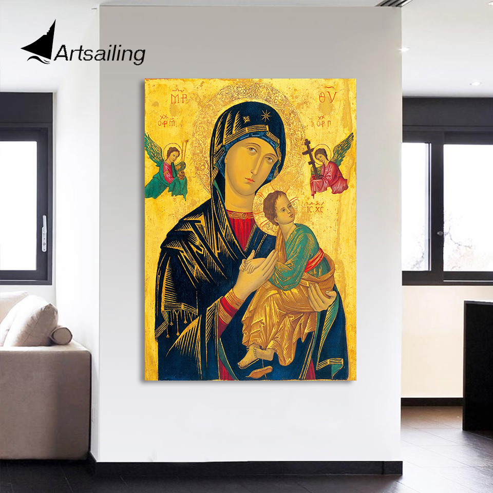 HD Printed 1 Piece Canvas Wall Art Virgin Mary Painting Jesus ...