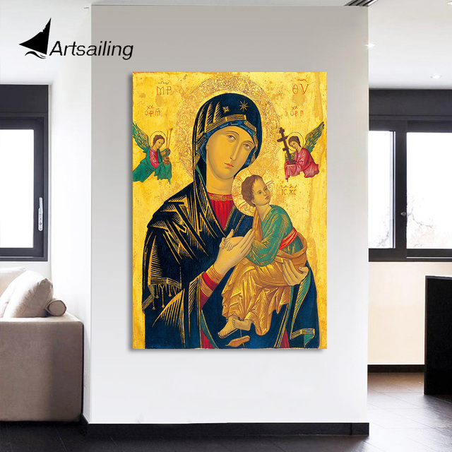 HD Printed 1 Piece Canvas Wall Art Virgin Mary Painting Jesus Christian Modular Wall Art Canvas Prints Free Shipping NY 7160C-in Painting & ...