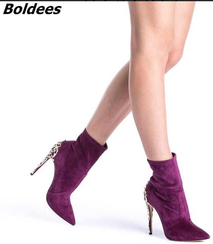 Irresistible Purple Suede Pointed Toe Stiletto Heel Short Boots Pretty Women Metal Branch Shape Thin High Heel Ankle Boots New