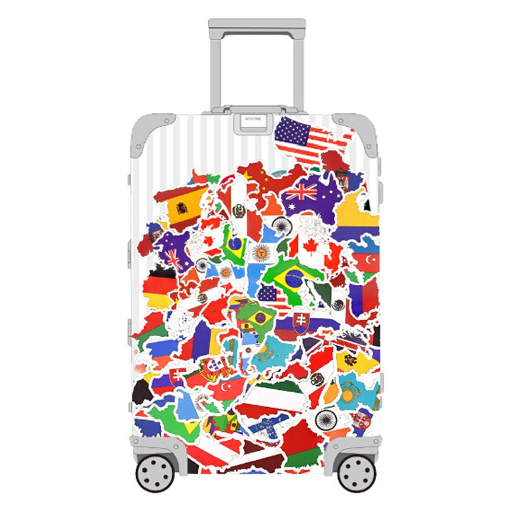 and a lot more bags 50 Unique National Flag Sticker package for suitcases