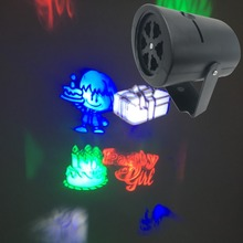 2017newest moving christmas lights santa claus lamp 3w 4 pattern lens snowman lighting dj ktv bar rotating stage light bulb - Moving Christmas Lights