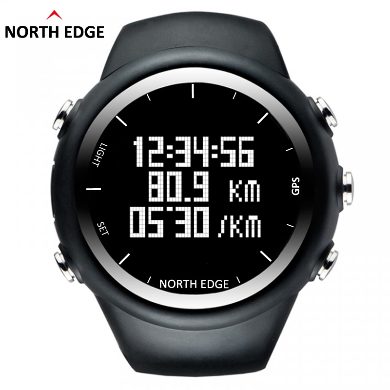NORTH EDGE Men GPS watch Digital wristwatch for Outdoor Running Swimming Fitness Sports Waterproof Speed distance pace timer ezon radio wave calibrate time digital men sports watch outdoor casual running swimming waterproof 50m wristwatch montre homme