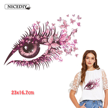 Nicediy Eyes Heat Transfers Iron On Patches For Jeans T-shirt Stickers Applications For Clothes Decorative Applique Craft Badge 50pcs wholesale bird heat transfers iron on patches for coat jeans t shirt clothes decorative diy craft stickers applications