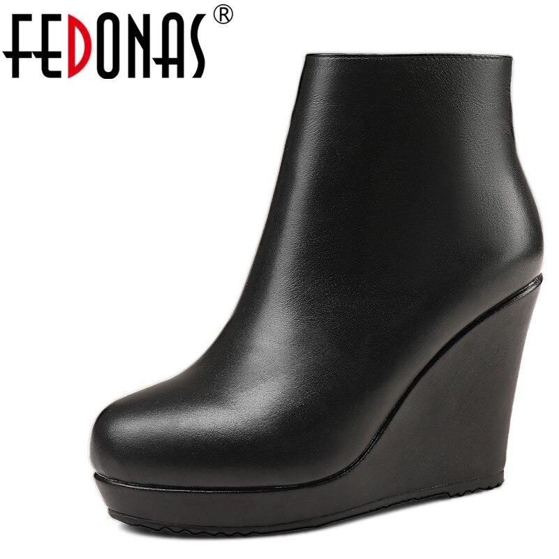 Kid Nuevas Mujeres Básicas Cuñas Plataforma Fedonas Mujer Cuero Tobillo black Sandalias Invierno Zapatos Genuino Con Suede Tacón Black Moda Otoño Alto De Botas Leather Cow Casual Sd8x5q5