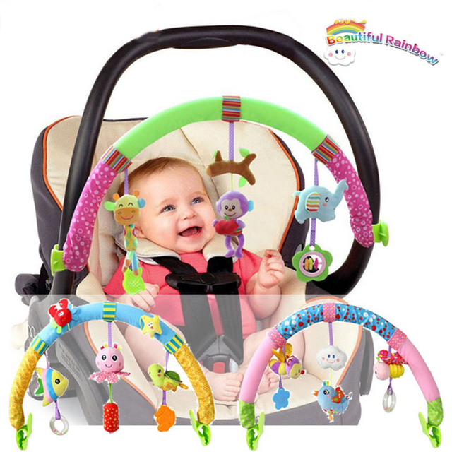 Beautiful Rainbow Kids Hanging Baby Bed & Stroller Toy 0-12 months Babies Rattle mobile baby Animal Teether arch Toys