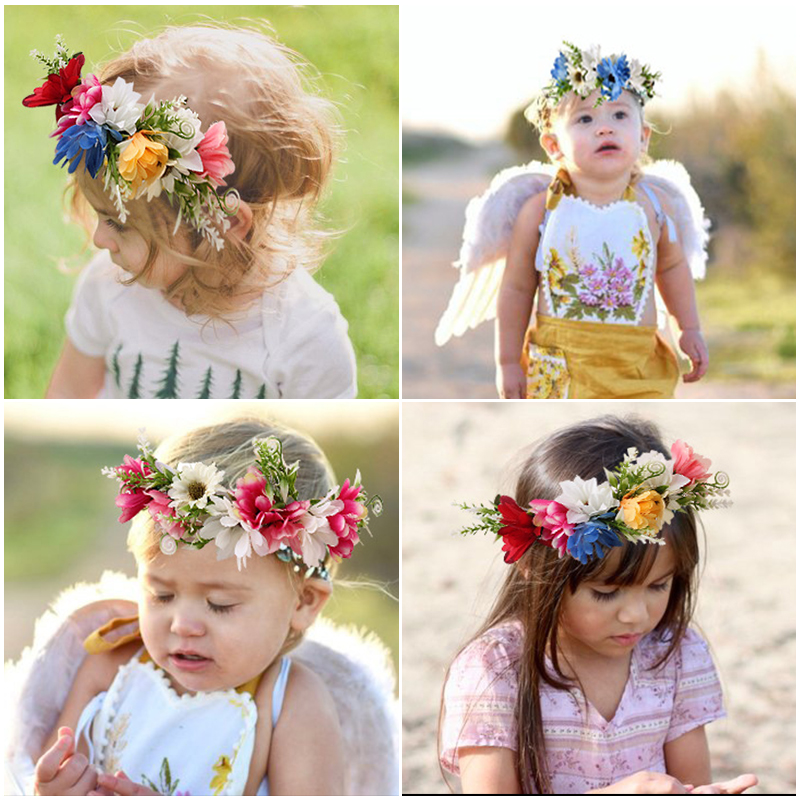 Kids Girls Wedding Flower Crown Wreath Bohemian Vine Adjustable Yarn Garland Sweet Hair Bands Accessories For Princess Baby Girl