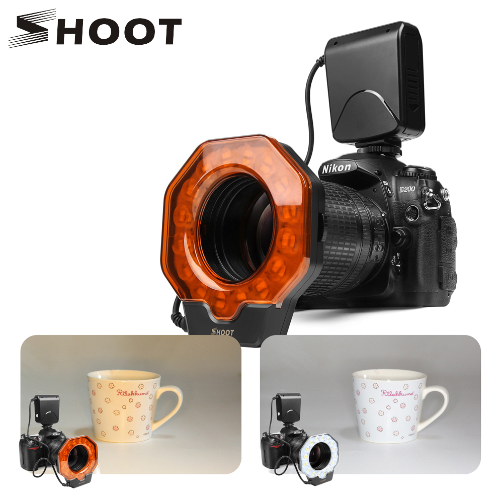 SHOOT untuk Digtal Camera Led Macro Ring Flash Light untuk Canon 1300D 6D Nikon D5300 D3400 D7200 D750 Olympus e420 Pentax K50 Dslr