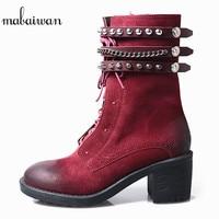 Mabaiwan/модные красные туфли из натуральной кожи на высоком каблуке, женские зимние короткие ботильоны, ковбойские туфли лодочки ручной работ