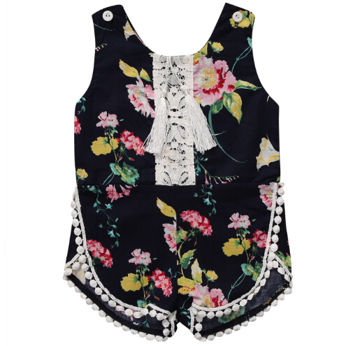 Summer Kids Baby Girls Romper Floral Cotton Tassel Romper Jumpsuit Sleeveless Outfits Sunsuit One-pieces