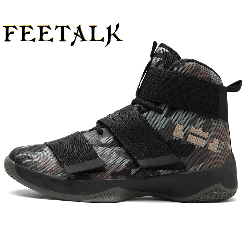 Feetalk Men Basketball Shoes Breathable Comfortable Sports Ankle Boots Athletic Training Durable Rubber Outsole Sneakers