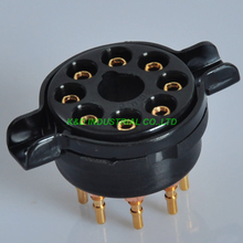 цена 2pcs 8Pin Bakelite Gold Vacuum Tube Socket For KT88 EL34 5881 6SL7 5U4G DIY HIFI онлайн в 2017 году