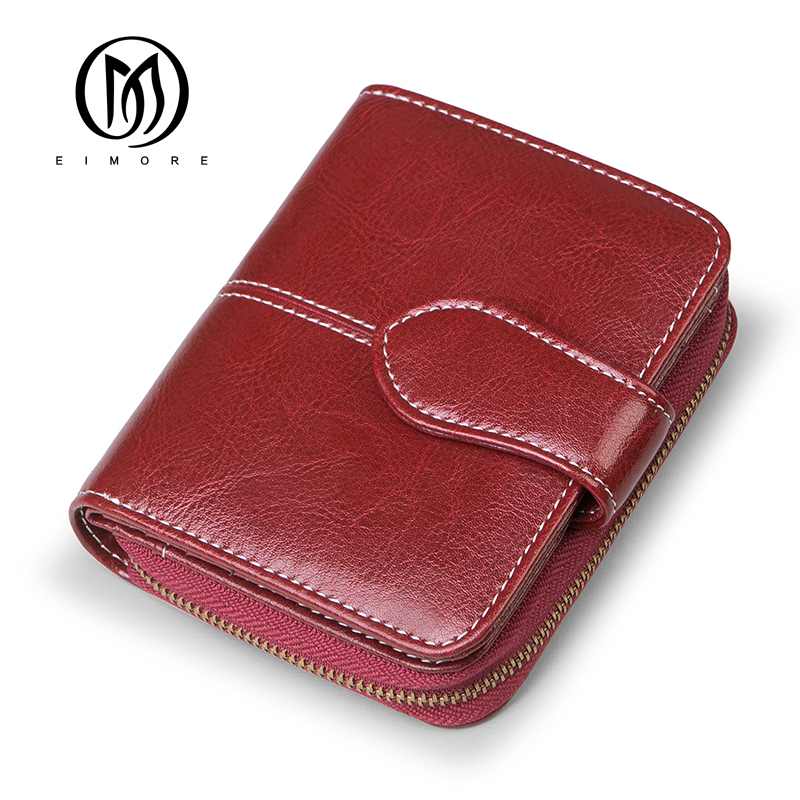 EIMORE 2018 New Wallet Women Purse Split Leather Female Short Wallet Zipper Design With Coin Purse Pockets Mini Walet Fashion