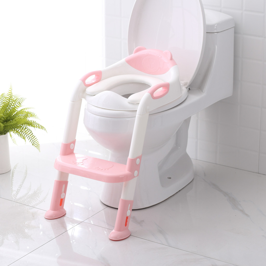 Baby Potty Toilet Seat Step Stool Ladder Adjustable Child Potty Chair Folding Toilet Trainer Seat Step Children Potty Seat toilet seat