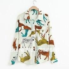 2014สุภาพสตรีใหม่แฟชั่นม้าลายพิมพ์เสื้อชีฟองกับกระเป๋า