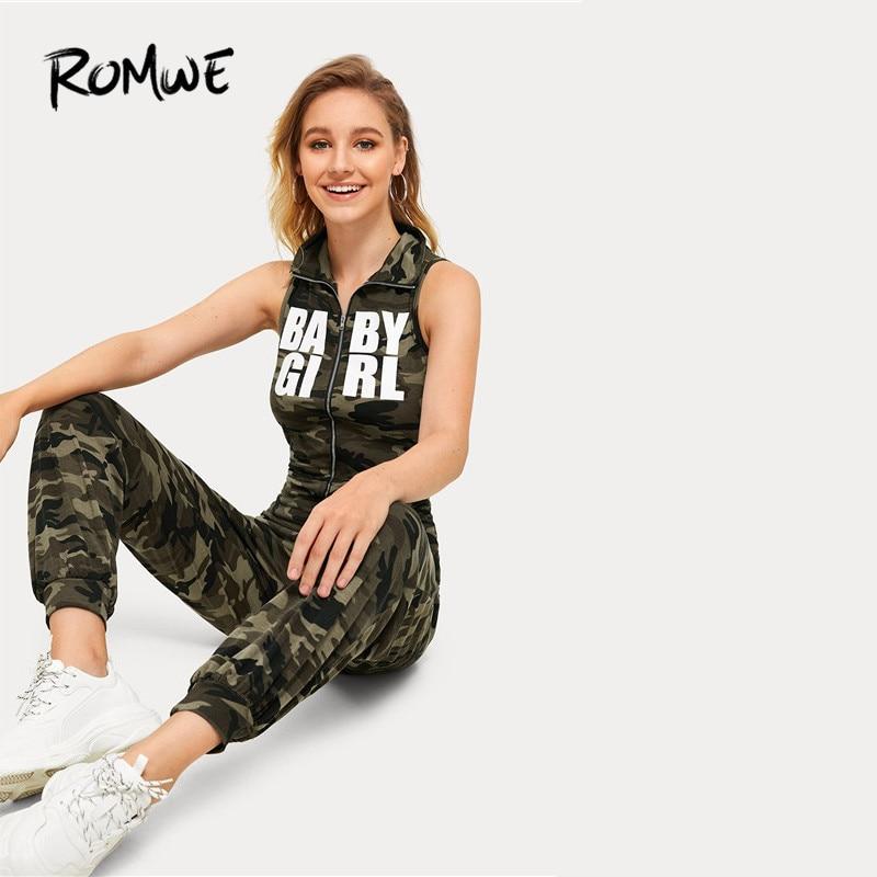 ROMWE Women Camouflage And Letter Print Zipper Closure Streetwear   Jumpsuit   2019 High Neck Sleeveless Mid Waist   Jumpsuits