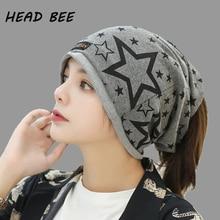 [HEAD BEE] 2018 Brand Beanies Hat Cotton Print Stars Knitted Cap Ladies Skullies Bonnet Winter Warm for Women