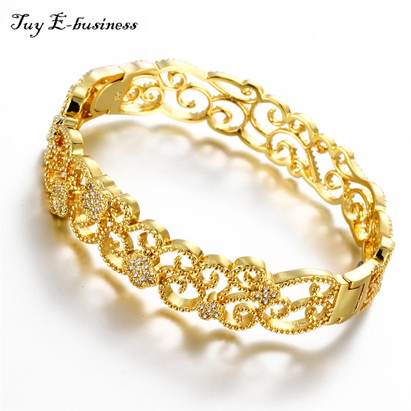 Bracelet Femme 24K/Rose Gold Plated Bangles For Women Filled Clear ...