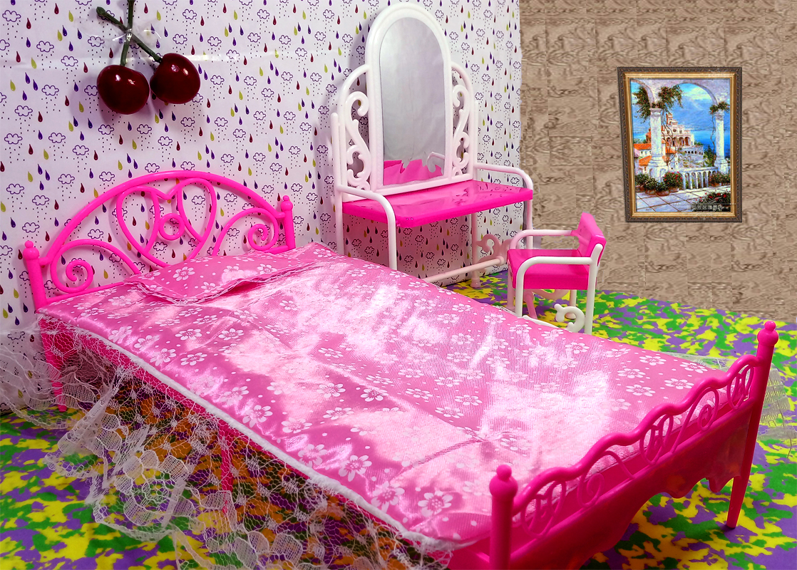 Doll Accessories Toys Girls Play House Toys Big Bed Dresser Dressing Table With Chairs Doll