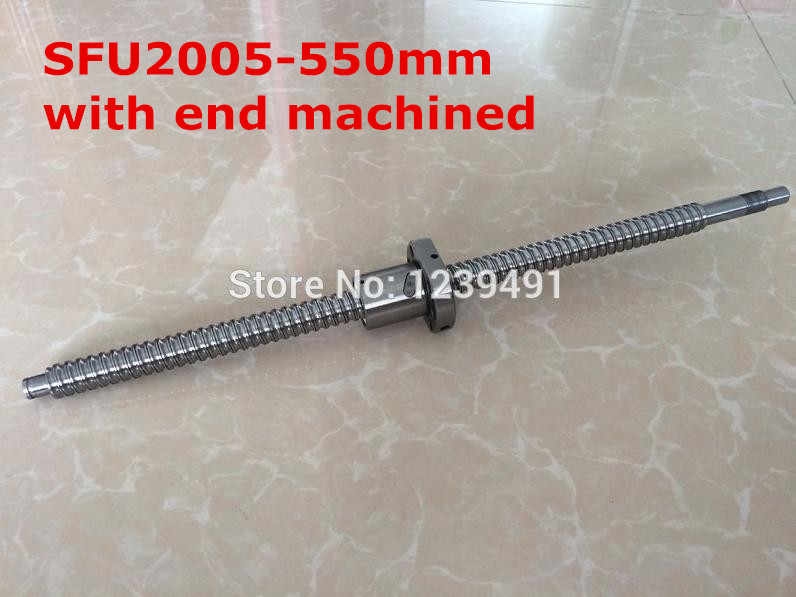 1pc SFU2005 - 550mm ballscrew + ball nut with BK15 / BF15 end machined CNC parts