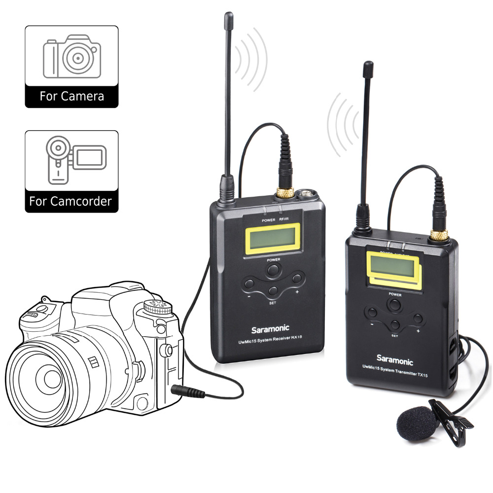 SaramonicWireless Microphone System UHF 15 Channel Omnidirectional mic for DSLR Camera Camcorder Interviews ENG
