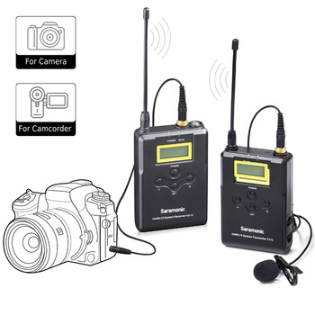 SaramonicWireless Microphone System, UHF 15 Channel Omnidirectional mic for DSLR Camera, Camcorder ,Interviews, ENG