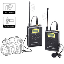 Sistemul microfon SaramonicWireless, microfon UHF 16 Channel omnidirecțional pentru camera DSLR, cameră video, interviuri, ENG