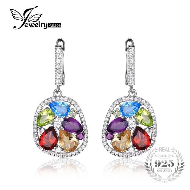 JewelryPalace luxury 5.3ct Genuine Amethyst Garnet Peridot Blue Topaz Drop Dangle Earrings 925 Sterling Silver Jewelry For Women