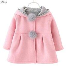 Oeak/пальто с длинными рукавами для маленьких девочек, куртка с заячьими ушками, Повседневная теплая детская куртка с капюшоном, верхняя одежда, розовый, красный, серый, 3 цвета