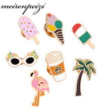 Summer Style Enamel Brooch Pins set Cute Beach Holiday Ice Cream Coffee Cold Drink Bird Glasses Brooch Set Women Jewelry Party