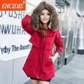 Vendas 4 cores Quentes Mulheres casaco de Inverno e Outono de 2016 Novo plus size Senhora gola De Pele Casacos Parka coats Roupas Femininas Longo M27