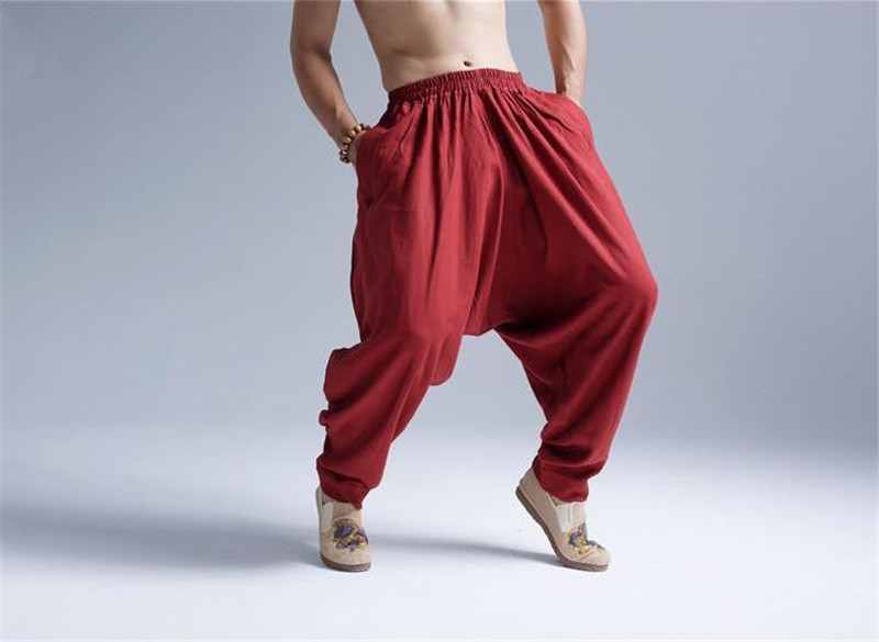 Pantalon Shenzhen rouge sarouel